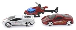 MEGA - 3'lü Kırmızı Helikopterli Metal Araçlar