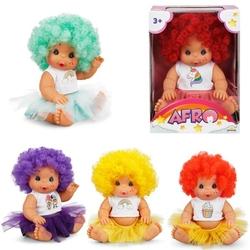 Sunman - Afro Oyuncak Bebek Renkli Kıvırcık Saçlı 23 cm