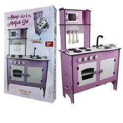 OyuncakFabrikasi - Ahşap Oyuncak Mutfak Seti Pembe 70 x33x101 Cm