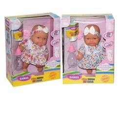 Gamze Toys - Altını Islatan Oyuncak Elif Et Bebek Emzikli Bezli Biberonlu Set