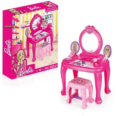 Barbie Oyuncak Güzellik Seti Tabureli Ayaklı Makyaj Masası ve Sandalye Set 8 Parça