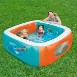 Bestway - Bestway 51132 Şişme Çocuk Havuzu Renkli Şeffaf Kare Pencereli 168X168X56 Cm