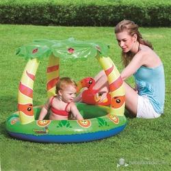 Bestway - Bestway 52179 Palmiye Desenli Kuğulu Gölgelikli Şişme Çocuk Havuzu