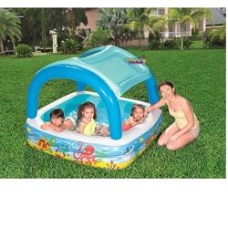 Bestway - Bestway 52192 Gölgelikli Güneş Korumalı Kare Şişme Havuz 147 Cm