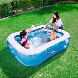 Bestway - Bestway 54005 Dikdörtgen Mavi Şişme Aile Havuzu 201 X 150 X 51 Cm