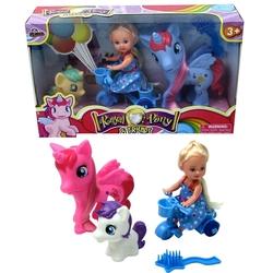 Vardem Oyuncak - Bisikletli 2 Adet Sevimli Pony At ve Oyuncak Bebek Balon Aksesuarlı