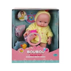 Sunman - BouBou Bornozlu Ağlayan Gülen Oyuncak Bebek 26 cm