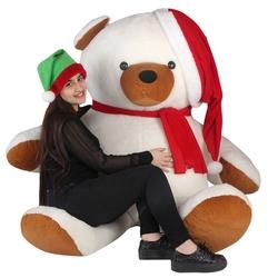 OyuncakFabrikasi - Büyük Peluş Ayı 170 cm Şapkalı Noel