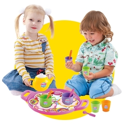 Dede Toys - Candy Kız Oyuncak Çay Seti Tepsili 17 Parça