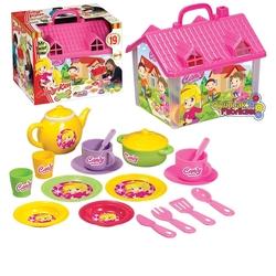 Dede toys - Candy Oyuncak Ev ve Çay Seti 19 Parça