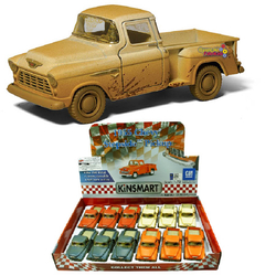 Kinsmart - Çek Bırak Araba Çamurlu Kinsmart 1955 Chevy Stepside Pick-Up 1:32