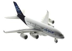 MEGA - Oyuncak Uçak Çek Bırak Metal Airbus A380 Benzeri Mavi Yolcu Uçağı Sesli Işıklı