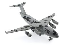 MEGA - Çek Bırak Metal Beyaz Koyu Gri Askeri Kargo Uçağı Sesli Işıklı