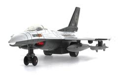 MEGA - Çek Bırak Metal F-16 Benzeri Beyaz Savaş Uçağı Sesli Işıklı