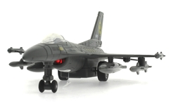 MEGA - Çek Bırak Metal F-16 Benzeri Gri Savaş Uçağı Sesli Işıklı