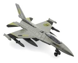MEGA - Çek Bırak Metal F-16 Benzeri Metalik Gri Savaş Uçağı Sesli Işıklı