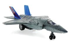 MEGA - Çek Bırak Metal F-35 Benzeri Gri Savaş Uçağı Sesli Işıklı