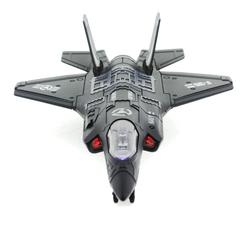 MEGA - Çek Bırak Metal F-35 Benzeri Koyu Gri Savaş Uçağı Sesli Işıklı