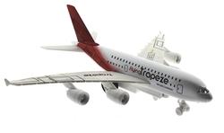 MEGA - Oyuncak Uçak Çek Bırak Metal Kırmızı Kuyruklu Yolcu Uçağı Sesli Işıklı
