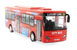 MEGA - Çek Bırak Metal Kırmızı Turist Otobüsü Sesli ve Işıklı