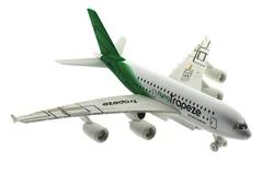 MEGA - Oyuncak Uçak Çek Bırak Metal Yeşil Kuyruklu Yolcu Uçağı Sesli Işıklı