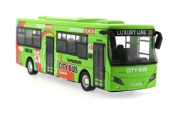 MEGA - Çek Bırak Metal Yeşil Turist Otobüsü Sesli ve Işıklı