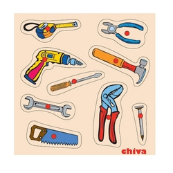 Chiva Oyuncak - Chiva, Tamir Aletleri Ahşap Puzzle