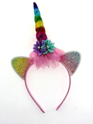 MEGA - Çiçekli Gökkuşağı Unicorn Taç