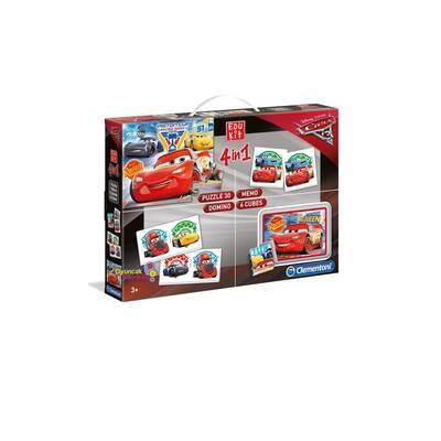 Clementoni Cars Edukit 4 in 1 Puzzle Domino Memo 6 Cubes 3+Yaş