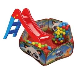Vardem Oyuncak - Çocuk Oyun Havuzu Kaydırak Katlanabilir Top Havuzu 100 Adet Renkli Toplar