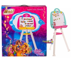 Furkan Toys - Çocuk Winx Ayaklı Yazı Tahtası 79 Parça Manyetik Harfler Rakamlar