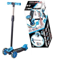 Furkan Toys - Cool Wheels Twist Led Işıklı 3 Tekerlekli Ayarlı Scooter-Mavi