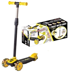 Furkan Toys - Cool Wheels Twist LED Işıklı 3 Tekerlekli Yükseklik Ayarlı Scooter -Sarı
