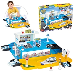 Dede toys - Dede Oyuncak Polis Otopark Garaj Seti İstasyonlu 2 Adet Metal Arabalı