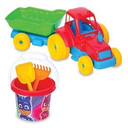 Dede toys - Dede Toys Pj Masks Traktör ve Plaj Kova Kürek Seti