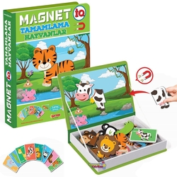 Dıy Toy - Dıy Toy Eğitici Magnet IQ Hayvanlar Tamamlama Kartları Manyetik Puzzle