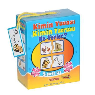 Dıy Toy Eğitici Puzzle 3'lü Set Kimin Yuvası Kimin Yavrusu Nerede? 58 Parça