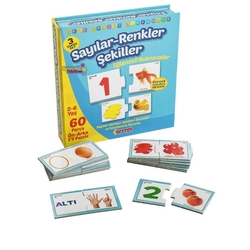 Dıy Toy - Dıy Toy Eğitici Sayılar Renkler Şekiller Eşleşmeler Çocuk Puzzle 60 Parça