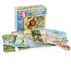 Dıy Toy - Dıy Toy Hayvanlar Süper Renkli Eva Köpük Puzzle 4'lü 24 Parça