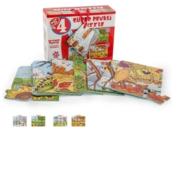 Dıy Toy - Dıy Toy Mevsimler Süper Renkli Eva Çocuk Puzzle 24 Parça) 4'Lü