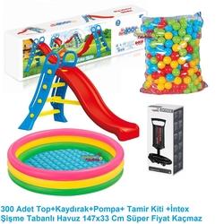 Dolu Oyuncak Fabrikasi - Dolu Büyük Su Kaydırağı +147 Cm Şişme Havuz+300 Havuz Topu+Pompa+T.Kiti