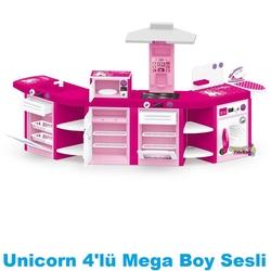Dolu Oyuncak Fabrikasi - Dolu Oyuncak Mutfak Seti Mega Unicorn Kitchen Set Modern 4'lü Pilli Işıklı Dolu-2545