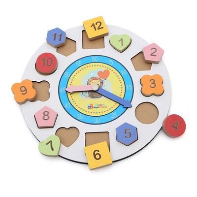 Eğitici Ahşap Eğitici Geometrik Bul Tak Saat
