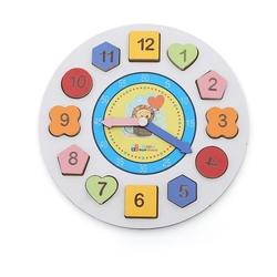 Eğitici Ahşap Eğitici Geometrik Bul Tak Saat - Thumbnail