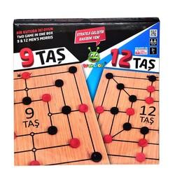 Woodoy-Karsan Ahşap - Eğitici Ahşap İki Oyun Birden 9 Taş ve 12 Taş Oyunu