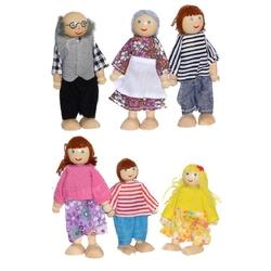 Hamaha Oyuncak - Eğitici Ahşap Minyatür Bebekler Aile Seti 6 Adet