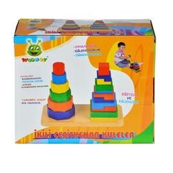 Woodoy-Karsan Ahşap - Eğitici Ahşap Oyuncak 2 Li Çeşit Kenar Kuleler