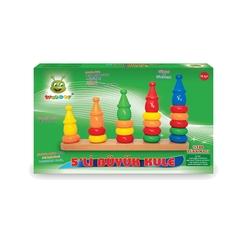 Woodoy-Karsan Ahşap - Eğitici Ahşap Oyuncaklar 5 Li Büyük Kule
