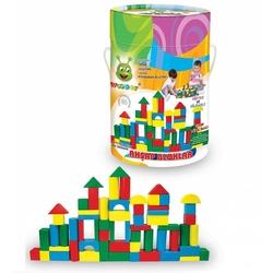 Woodoy-Karsan Ahşap - Eğitici Ahşap Oyuncaklar 60 Parça Küçük Bloklar Kovalı