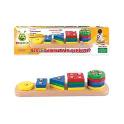 Woodoy-Karsan Ahşap - Eğitici Ahşap Oyuncaklar Beşli Geometrik Şekiller
